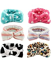 Kaide Pack of 6 Women Fashion Lovely Soft Carol Fleece Bowknot Bow Makeup Cosmetic Shower Elastic Hairlace Headband Hairband