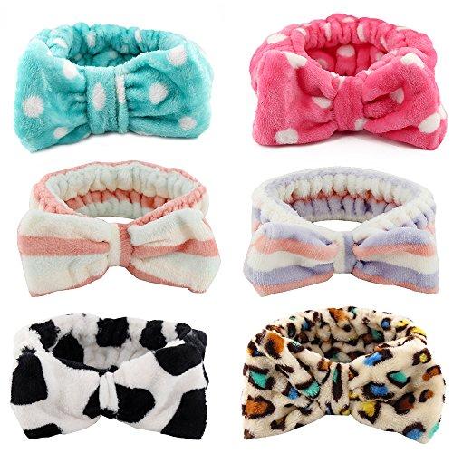 Kaide Pack of 6 Women Fashion Lovely Soft Carol Fleece Bowknot Bow Makeup Cosmetic Shower Elastic Hairlace Headband Hairband