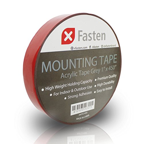 Adhesive Double Sided Tape (XFasten Extreme Double-Sided Acrylic Mounting Tape Removable, Gray, 1-Inch x 450-Inch, Weatherproof, Super Strong Double-Sided Adhesive and Tough Bonding Strength)