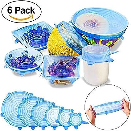 Fundas Protectoras para Tazones// Paquete de cubierta flexible duradero para almacenamiento de alimentos de ahorro Jar,macetas,latas,bandejas,vasos Tapas el/ásticas de silicona microondas y el congelador reutilizable Azul horno lavavajillas