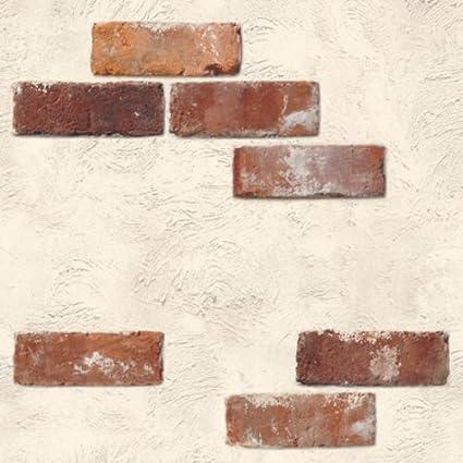 Amazon Com Ponml Shabby Chic Brick Wallpaper Self Adhesive Vinyl