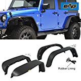 jku fender flare - EAG Steel Fender Flares Front and Rear with LED Turn Signal Lights for 07-18 Jeep Wrangler JK