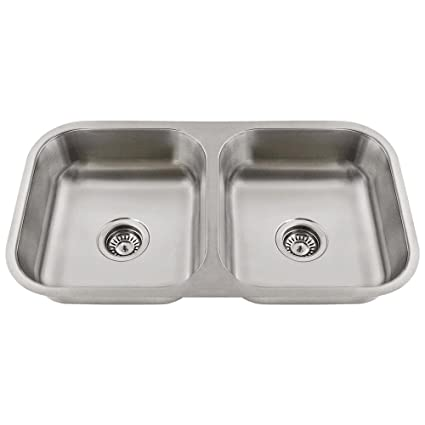 Double Bowl Stainless Steel Kitchen Sink.Ada3218a 18 Gauge Undermount Equal Double Bowl Stainless Steel Kitchen Sink