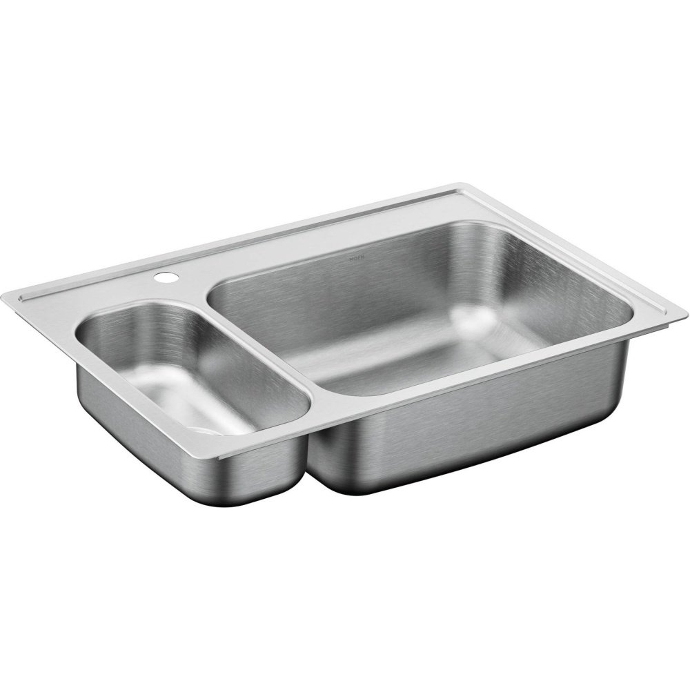 Moen G202861 2000 Series Stainless Steel 20 Gauge Double Bowl Drop in Sink, 33 x 22 by Moen B01BDWQP6Q