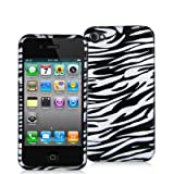For Apple iPhone 4S 4 Black Zebra White Hard Plastic Snap On Case Cover Faceplate