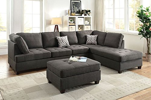 Poundex Bobkona Kemen Linen-Like Polyfabric Left or Right Chaise 2Piece SECTIONAL in Ash Grey (Right Arm Facing Sectional)
