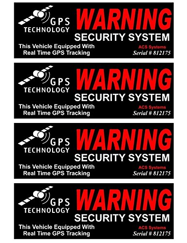 "4 Pc Convincing Unique Warning GPS Tracking Security System Technology This Vehicle Equipped with Real Time Inside Adhesive Sticker Sign Window Premises Hour Trespassing House Neighbor Size 4.5""x1.5"""