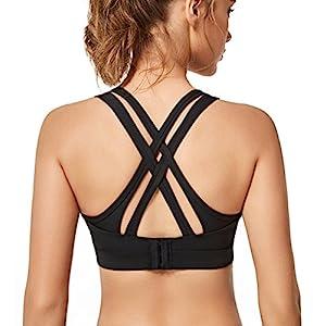 Yvette Women High Impact Sports Bras Criss Cross Back Sexy Running Bra for Plus Size