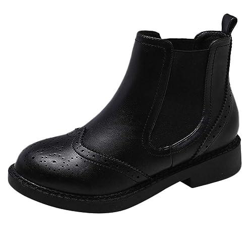 Botas Martin de Mujer Vintage Botines sin Cordones de Ante con tacón Cuadrado Zapatos con Punta en Punta: Amazon.es: Zapatos y complementos