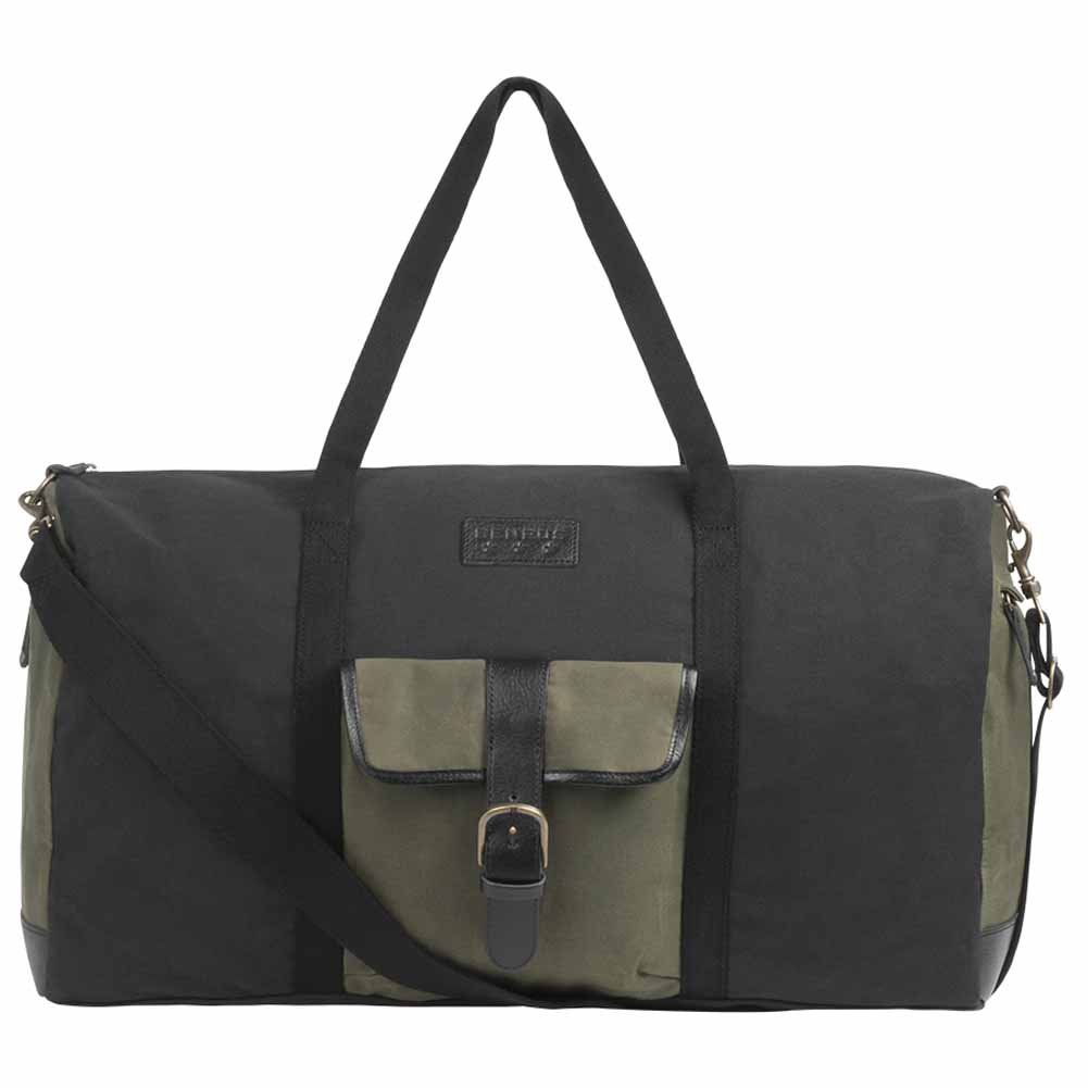 BENRUS Quartermaster Duffle Bag in Black and Olive Waxed Canvas