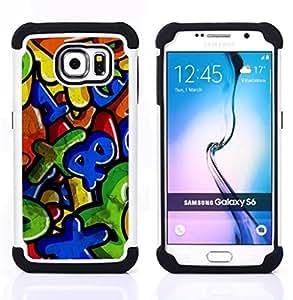 For Samsung Galaxy S6 G9200 - colorful numbers letters kids Dual Layer caso de Shell HUELGA Impacto pata de cabra con im??genes gr??ficas Steam - Funny Shop -