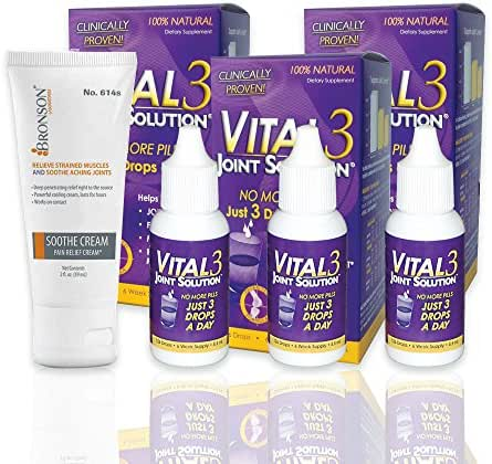 Vital 3 Joint Solution® Clinically Proven Joint Supplement 3 Bottles + Free Ultra Strength Pain Relieving Soothe Cream 2 oz.