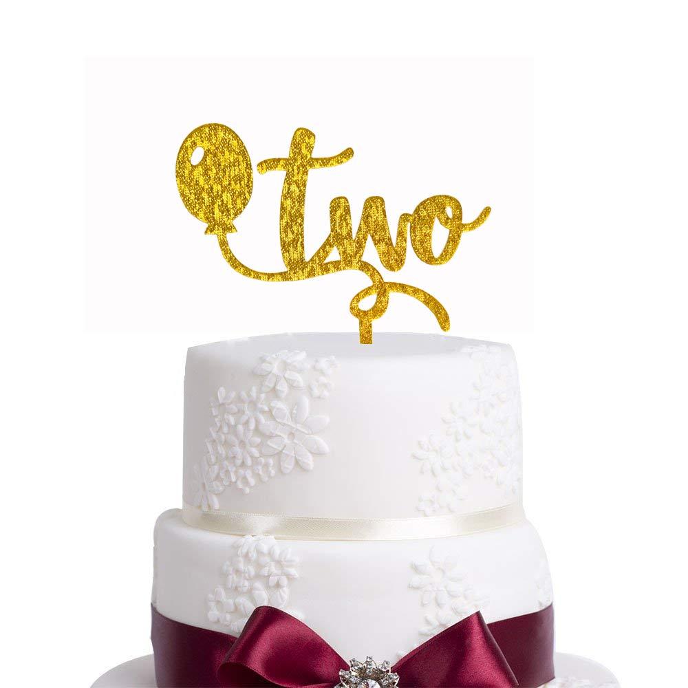 Decoración para tartas de 2 cumpleaños, con purpurina, para ...
