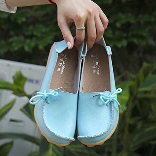 Elevin(TM)New Women Fashion Leisure Leather Loafers Flats Lace-up Peas Moccasin Gommino Non-Slip Shoes Sky Blue Xfw4kIWn