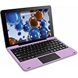 RCA Viking Pro 10.1' 2-in-1 Tablet 32GB Quad Core Purple Laptop Computer with Touchscreen and Detachable Keyboard Google Android 5.0 Lollipop