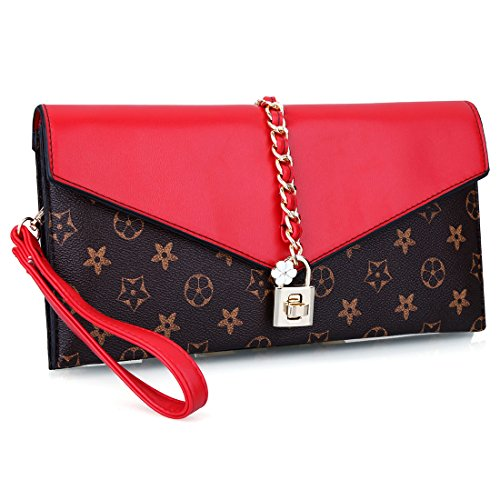 Red Flower Evening Oversized Bag Lock Designer Evening Wristlet with Clutch Women Handbag UwAxP5RqqC