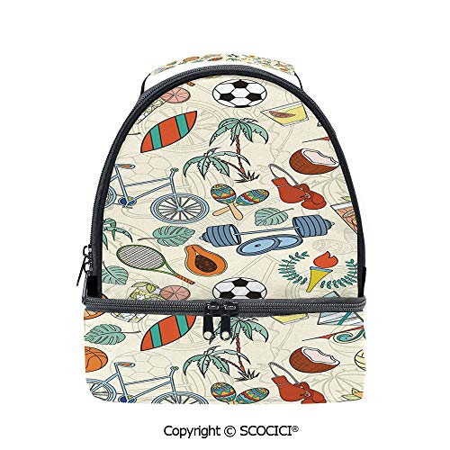 - SCOCICI Large Capacity Durable Material Lunch Box Sports Themed Abstract Cartoon Style Icons Bike Balls Olympic Flame Weight Gloves Multipurpose Adjustable Lunch Bag
