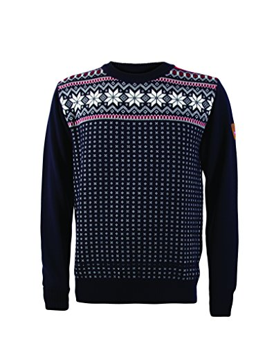 Dale of Norway Men's Garmisch Masculine Sweater, Navy/Off White/Raspberry, - Sweater Dale Mens Norway