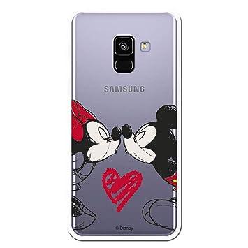 Carcasa Oficial de Disney Mickey Y Minnie Beso Clear para Samsung Galaxy A8 2018 - A5 2018 - La Casa de Las Carcasas