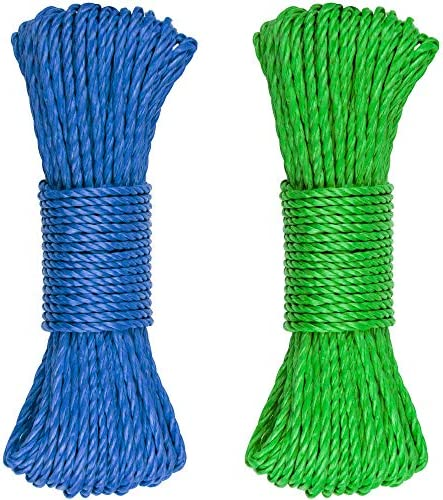 SteadMax Multicolor Plastic 3/16 Rope for Sports & Outdoors, Hiking, Camping, Heavy Duty General Purpose Utility Cord, Ideal Clothesline, Anchoring Tents, Awing, Hammock