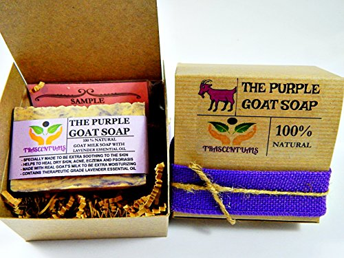 Handmade Goat Milk Soap With Lavender Essential Oil Made To Be Extra Moisturizing Helps With Dry Skin, Acne, Eczema, and Psoarisis (2 PACK)