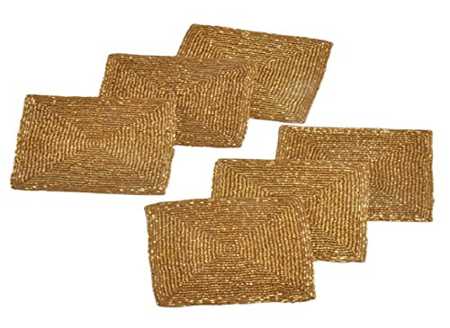 Glass Beaded Square Coasters Set of 6 Gold Finish Tabletop Décor