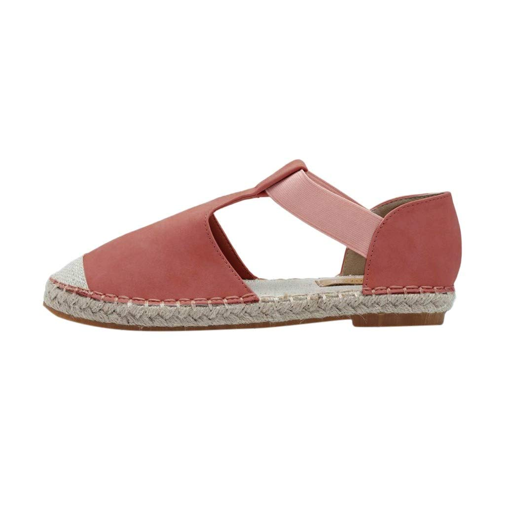 Women's Foreign Trade Large Size Retro Wind Flat Sandals Women's Fashion Round Head Casual Shoes Pink