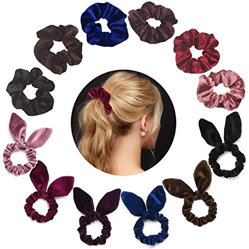 ZBNSLD Velvet Hair Ties Scrunchy Rabbit Ear Bow Bowknot Scrunchie Colorful Satin Hair Accessories Elastic Band Ponytail Ties for Women Girls-2 series 12 pcs