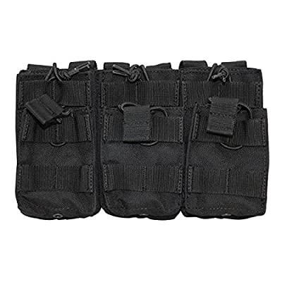 BLACK Molle Triple STACKER .223 5.56 MAG Pouch Ammo Carrier Open Top Bungee