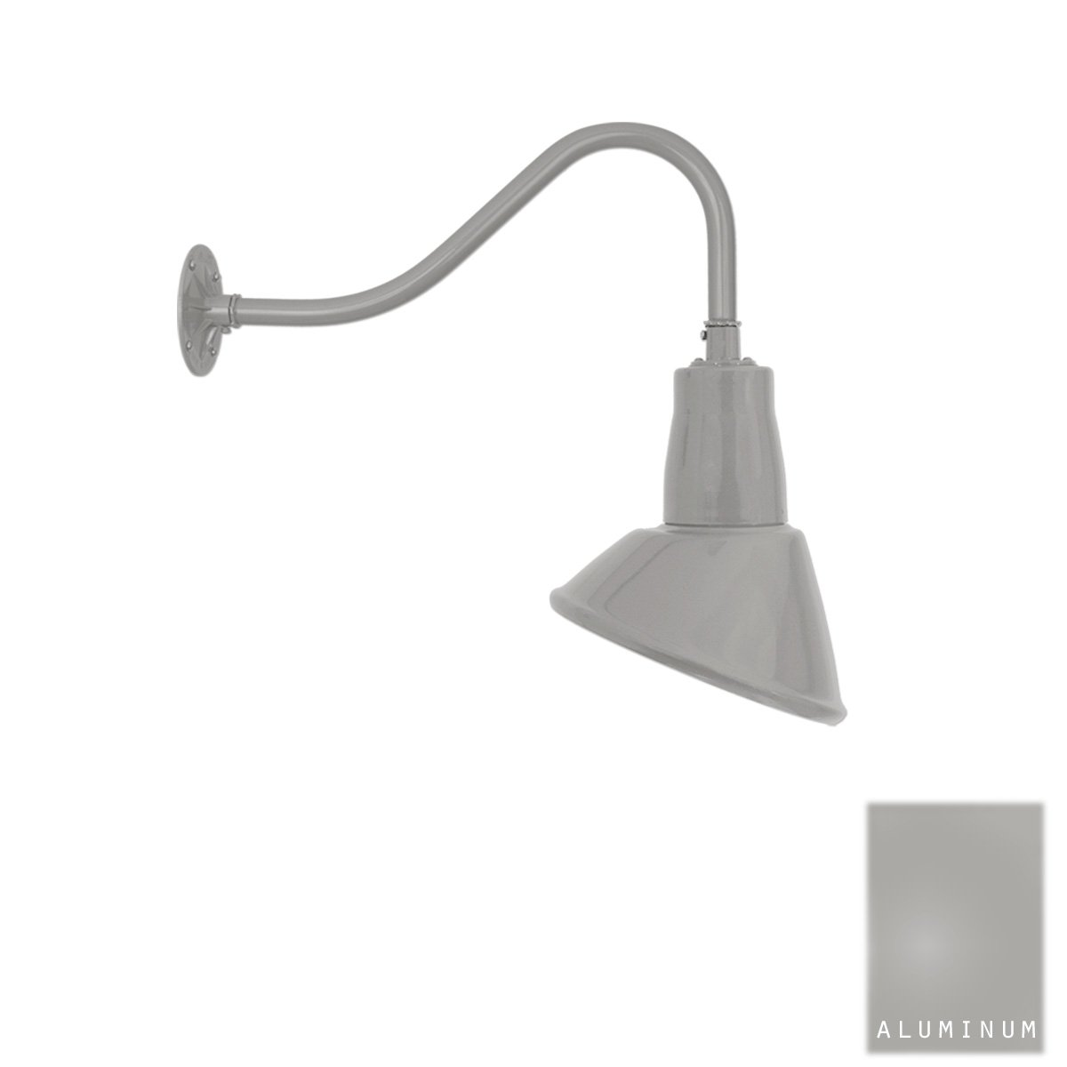 Aluminum Gooseneck Light | Classic Sign Light | 9.5'' Shade | 16'' Arm | Barn Light | 8 Colors (#20/859X) (Aluminum)