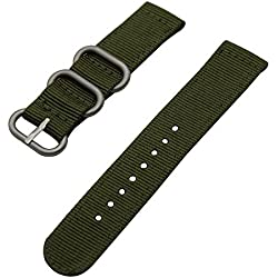 TRUMiRR 22mm Ballistic Nylon Watch Band Zulu 2 Pieces Strap for Samsung Gear S3 Classic Frontier, Gear 2 R380 R381 R382, Moto 360 2 46mm 2015, Pebble Time, Asus Zenwatch 1 2 Men, LG G Watch NAVY GREEN