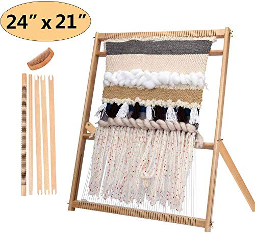 "Weaving Loom with Stand 24""H x 21""W (Approx.) Wooden Multi-Craft Weaving Loom Arts & Crafts, Extra-Large Frame, Develops Creativity and Motor Skills Weaving Frame Loom with Stand (with Instructions)"