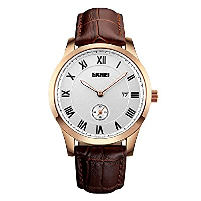 Aposon Mens Leather Band Unique Analog Quartz Waterproof Dress Wrist Watch Classic Business Casual, Calendar Date Window, Key Scrath Resitant Face, Seconds Dial, 98FT 30M 3ATM Water Resistant - Gold
