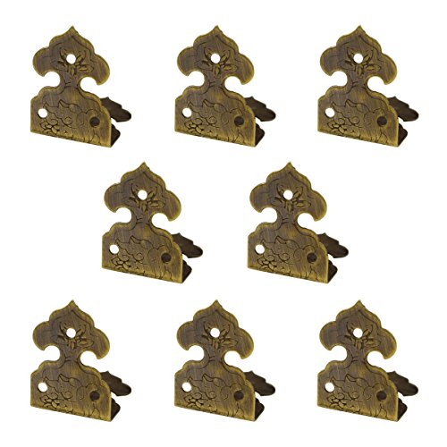 RZDEAL 8pcs 1.0'' x 0.6'' Embossing Brass Box Corner Protector Antique Hardware Desk Edge Guards Right Angle Wood Jewelry Box Photo Frame Accessories (Bronze Rahmen)