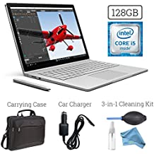 Microsoft Surface Book (128GB, 8GB RAM, Intel Core i5) + 15.6-Inch Microsoft Surface Carrying Case + 3 in 1 Premium Cleaning Kit (Cleaning Solution,Cloth,Keyboard Dust Blower) + Car Charger Bundle