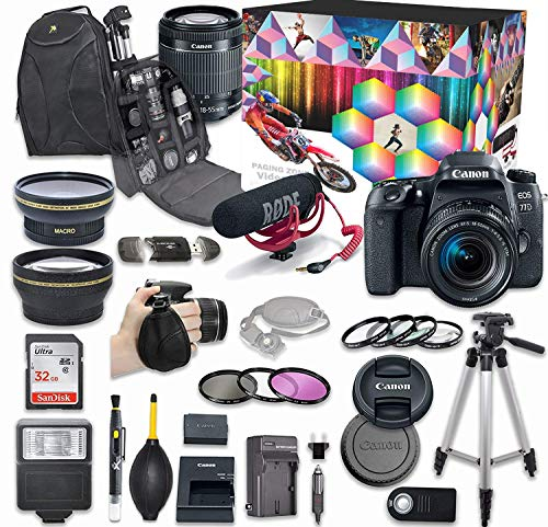 Canon EOS 77D DSLR Camera Deluxe Video Kit with Canon EF-S 18-55mm f/3.5-5.6 is STM Lens + Rode VIDEOMIC GO Microphone + SanDisk 32GB SD Memory Card + Accessory Bundle (Renewed)