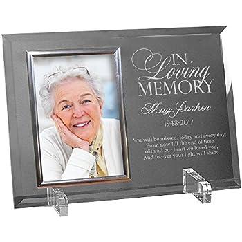 GiftsForYouNow Engraved Memorial Glass Photo Frame, 8