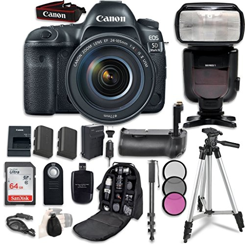 Canon EOS 5D Mark IV Digital SLR Camera Bundle with EF 24-105mm f/4L IS II USM Lens + Professional Accessory Bundle (14 items)