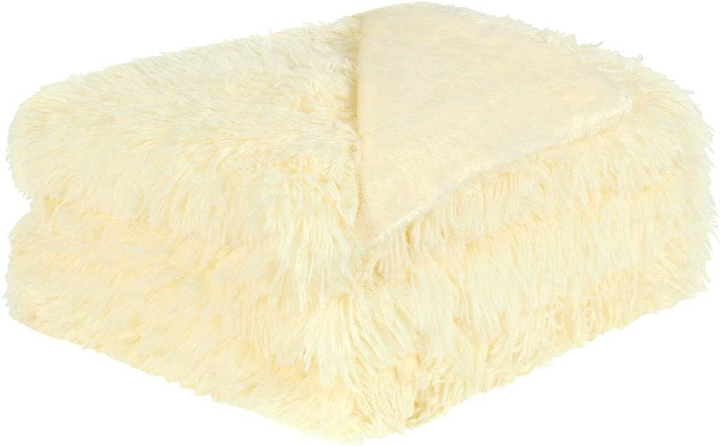 uxcell Solid Faux Fur Queen Size Blanket 78 inches x 90 inches - Decorative Fuzzy Long Shaggy Blankets Lightweight Long Fur Microfiber Fleece Blanket for Bed - Keep Warmth for Years,Pale Yellow