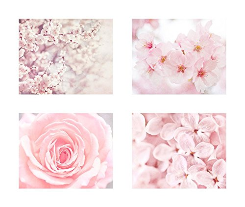 Pink Flower Wall Art, Cherry Blossom Pictures, Floral Rose and Lilac Decor, Set of 4 8x10 Matted Photographic Prints 'Pink'