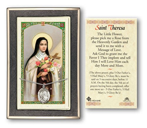 (Sterling Silver St Theresa Little Flower Medal on a 18 Inch Lite Curb Chain with a Prayer to St Theresa Little Flower Prayer Card.)