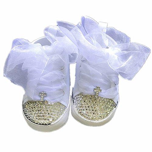 Dollbling Handmade Custom Rhinestons Cross Espadrilles Fashion Wedding Flower Baby Shoes Sneakers White
