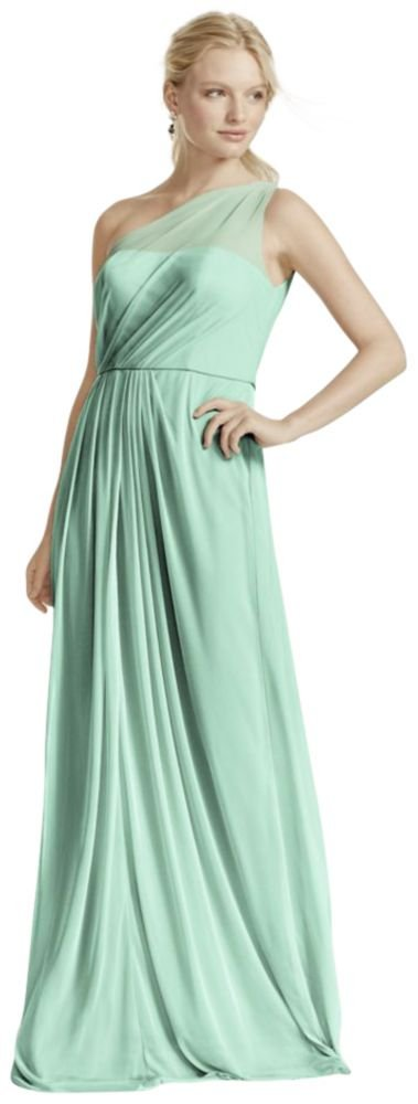 David's Bridal Long Mesh Bridesmaid Dress with One Shoulder Neckline Style F15928, Mint, 10