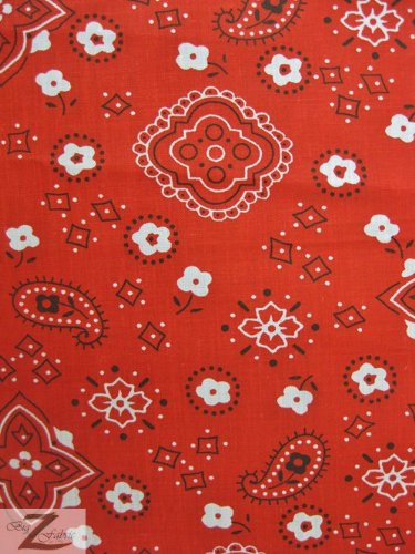 Fabric Red Bandana - RED PAISLEY BANDANA PRINT POLY COTTON FABRIC 58