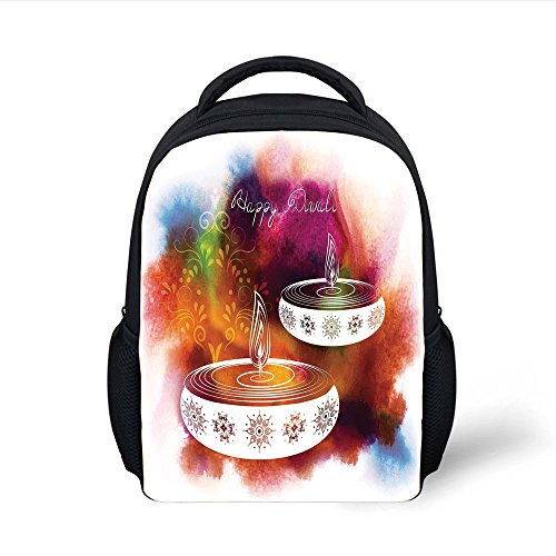 iPrint Kids School Backpack Diwali Decor,Abstract Rainbow Brush Strokes like Paisley Decor with Festive Fire Candles,Multicolor Plain Bookbag Travel Daypack by iPrint