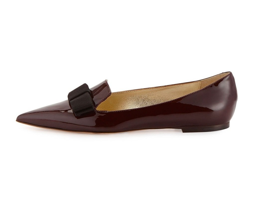 Aibarbie Women's Galala Patent-leather Point-toe Flats Office Off-duty Flats Shoes Grosgrain Bow Shoes B017657QN0 6 B(M) US|Chocolate