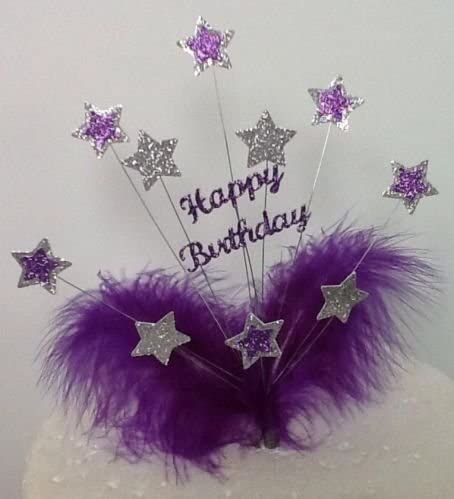 Incredible Purple Silver Happy Birthday Cake Topper With Marabou Feathers Funny Birthday Cards Online Ioscodamsfinfo