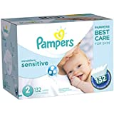 Pampers Swaddlers Sensitive Disposable Diapers Size 2, 132 Count, SUPER ECONOMY