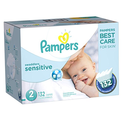Pampers Swaddlers Sensitive Disposable Baby Diapers Size 2, 132 Count, SUPER ECONOMY