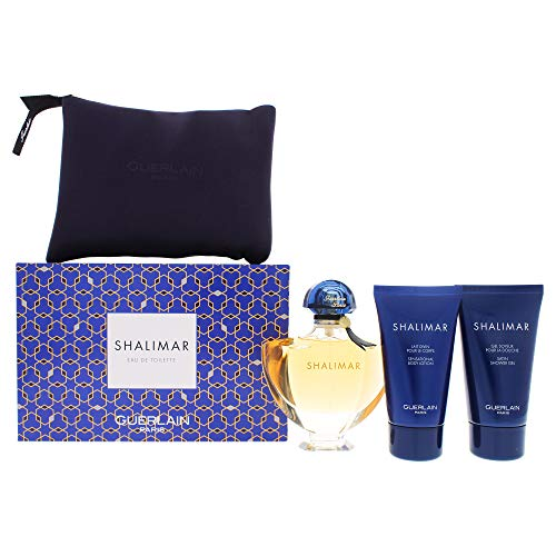 Guerlain Shalimar By Guerlain for Women – 4 Pc Gift Set 3oz Edt Spray, 2.5oz Body Lotion, 2.5oz Shower Gel Bag, 4count